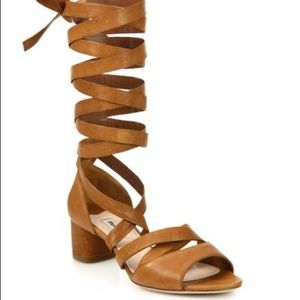 Miu Miu Leather Ankle-Wrap Gladiator Sandals Sz 6